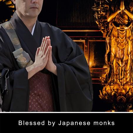 Argent (10d) * Omamori béni par les moines, Kyoto * Avec divinité